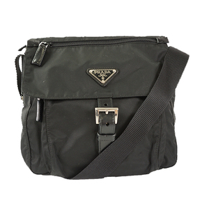 Auth Prada Nylon Shoulder Bag Black Silver
