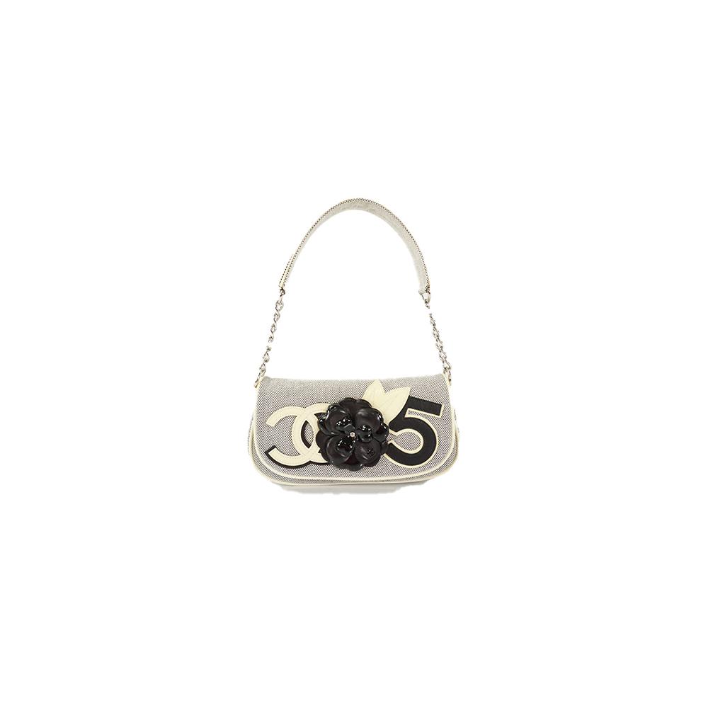 Auth Chanel Shoulder Bag Camellia Beige silver