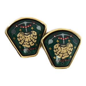 Auth Hermes Enamel Grilled Cloisonne Earrings Green Gold