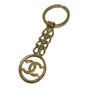 Auth Chanel Charm Keychain Gold