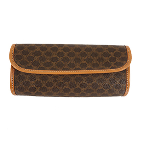 Auth Celine Clutch Bag Macadam PVC  Brown