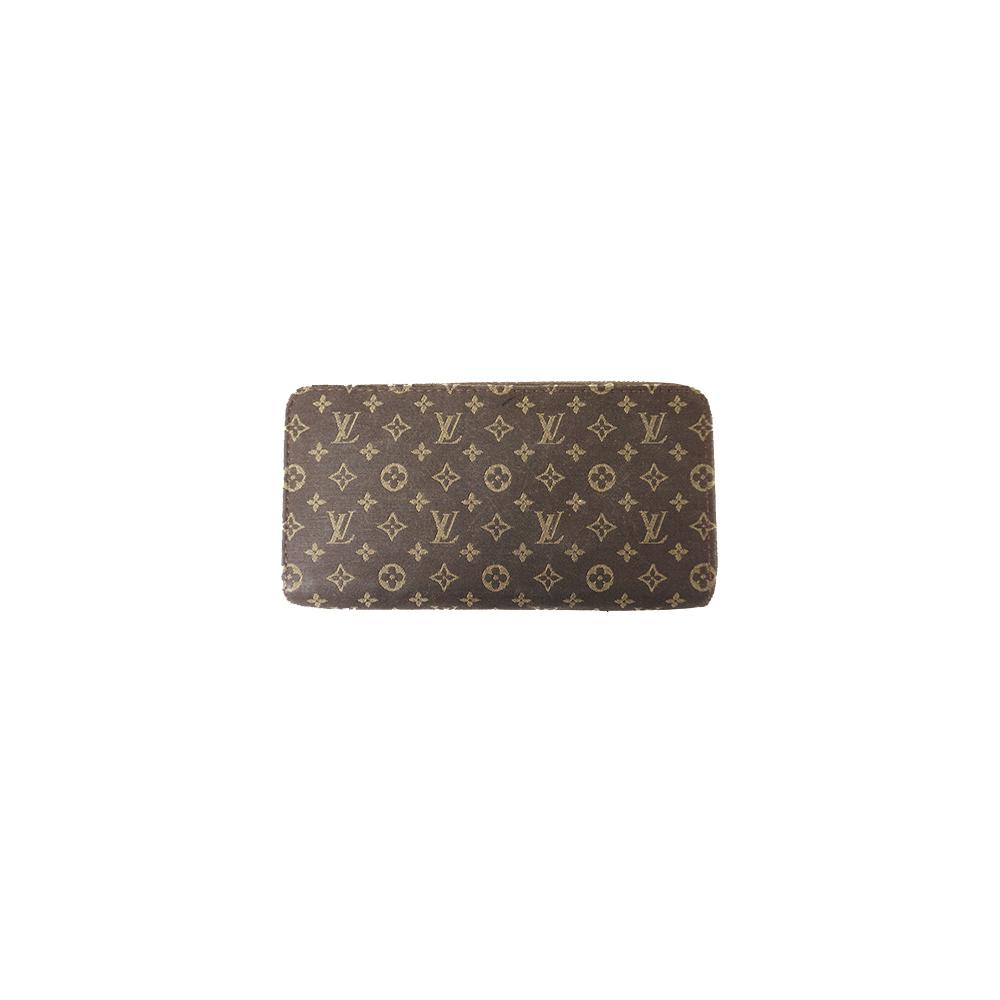 Auth Louis Vuitton Long wallet Monogram Mini Lin Zippy Wallet M95235 Ebene