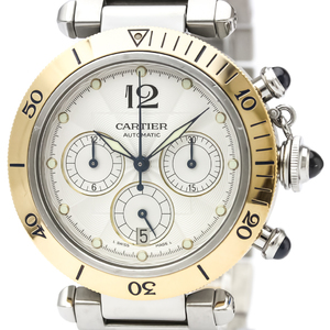 CARTIER Pasha 38 Chronograph 18K Gold Steel Watch W31036T6