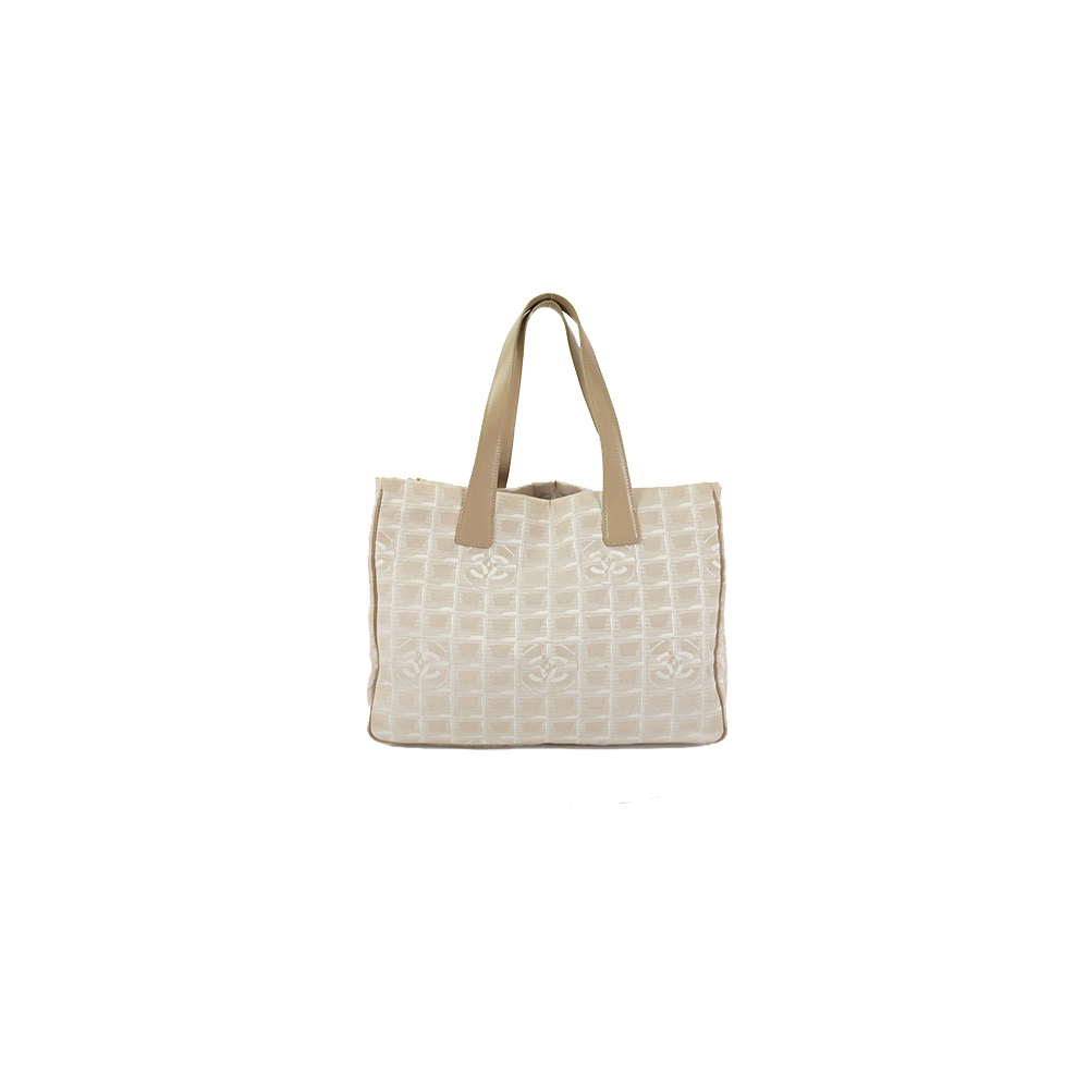 Auth Chanel Tote Bag New Travel Line Tote MM Nylon Beige Gold