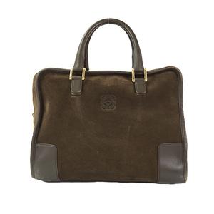 Auth Loewe Hand Bag Amazona 32 Dark Khaki Gold