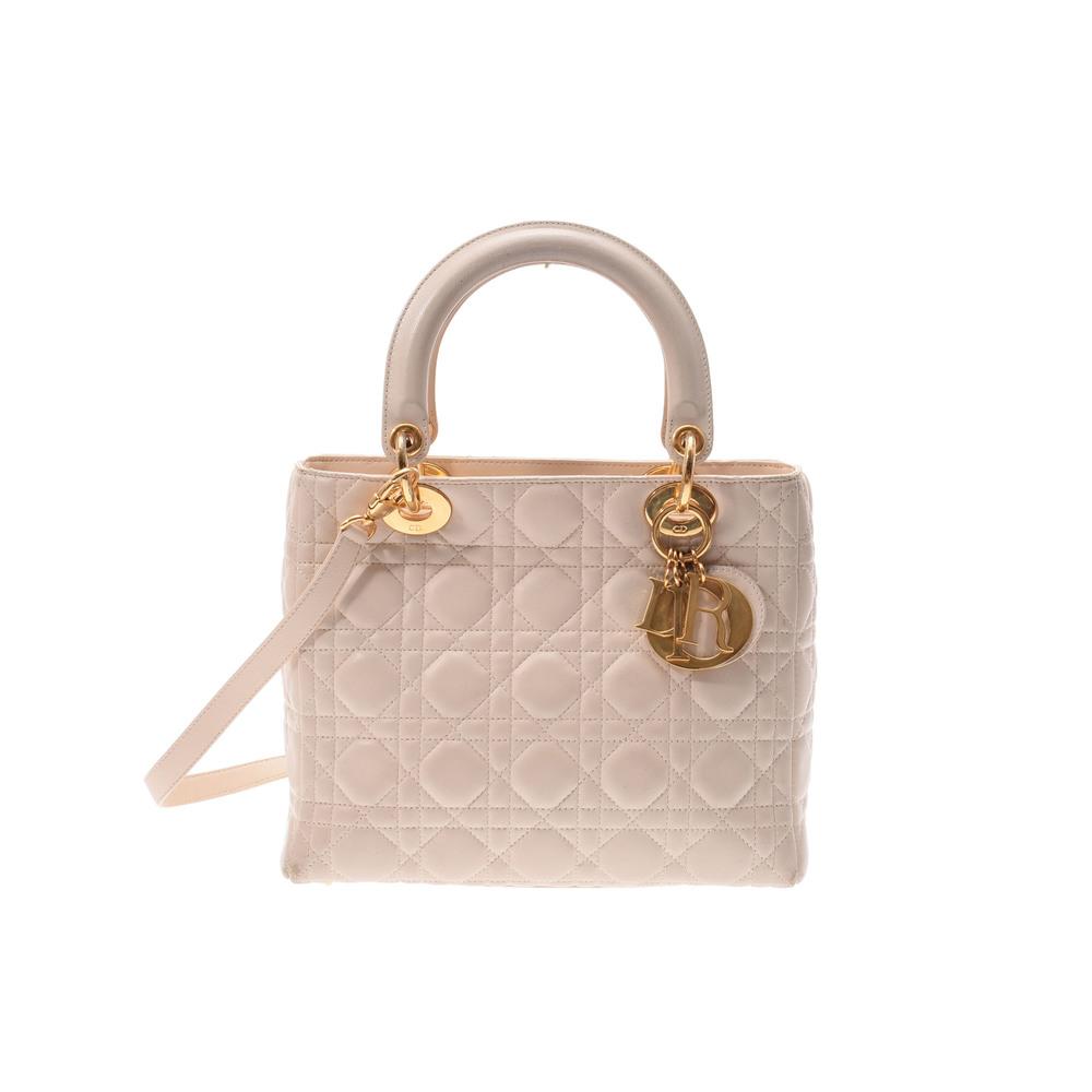 ディオール (Dior) Lady Dior 2way レザー バッグ アイボリー