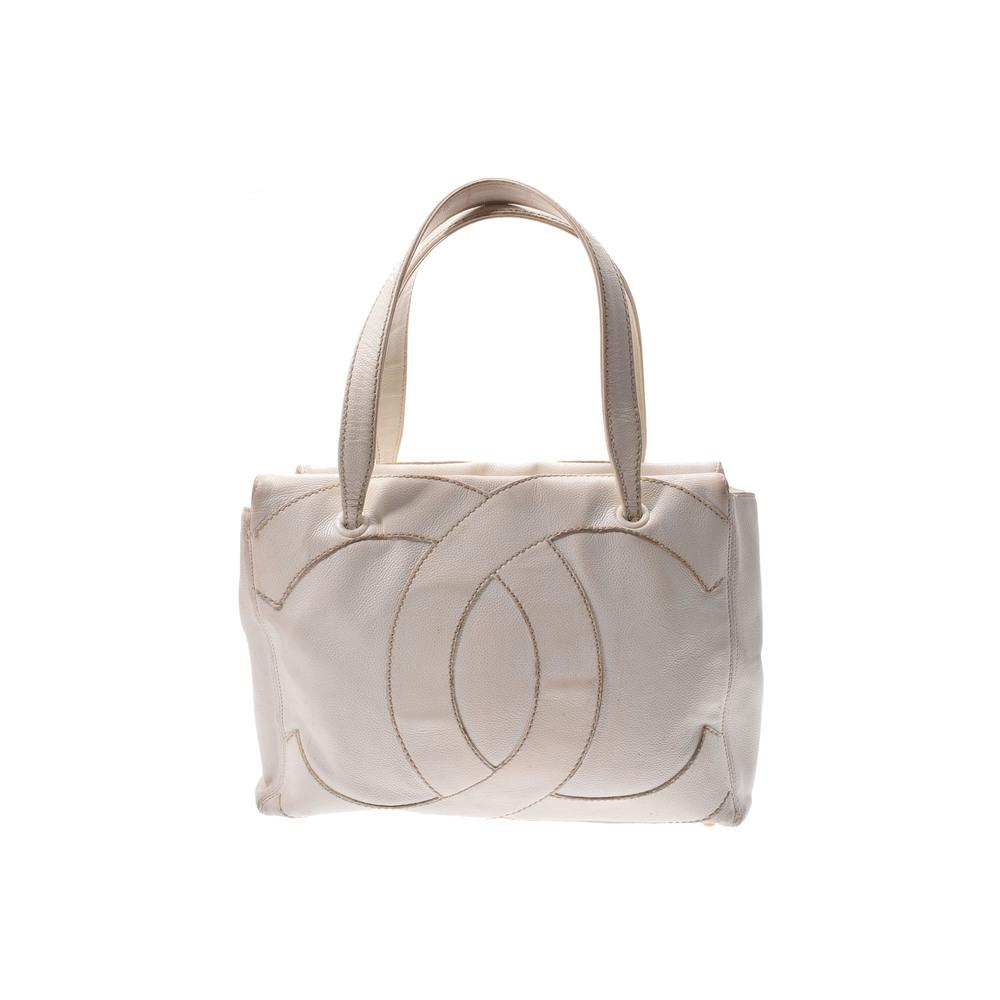 Chanel Caviar Skin Coco Mark Caviar Leather Tote Bag White