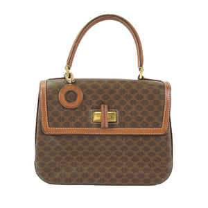 Auth Celine Handbag Macadam Brown Gold