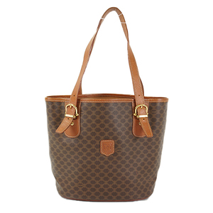 Auth Celine Baguette Bag Macadam Brown Gold