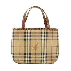 Auth Burberry Handbag PVC Beige Gold