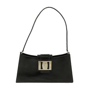 Auth Salvatore Ferragamo Shoulder Bag Vara Black Silver