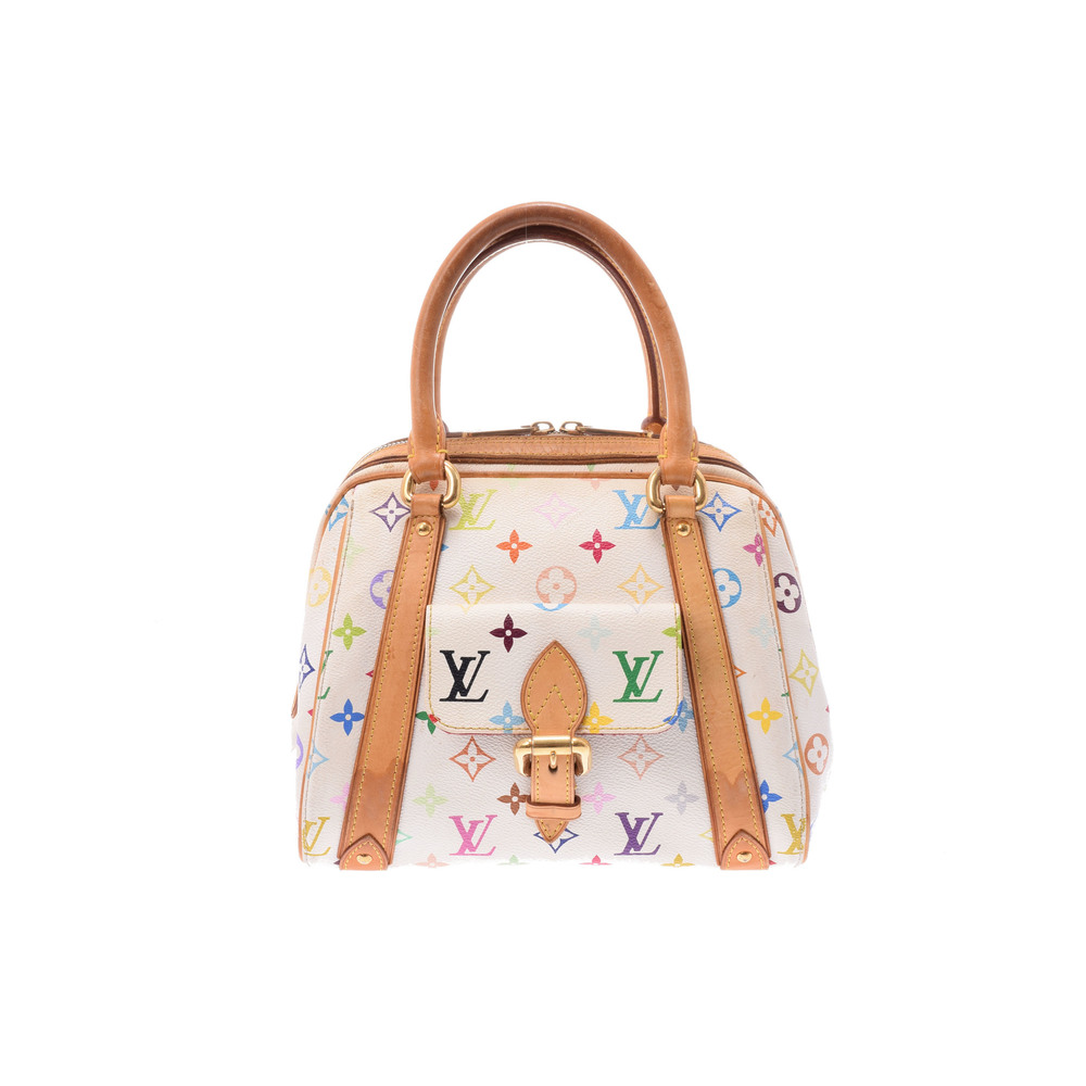 Louis Vuitton Monogram Multicolore M40096 Priscilla Handbag Blanc,Multi-color,White