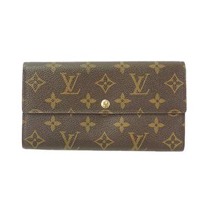 Auth Louis Vuitton Long Wallet Monogram Pochette Porto Monet Credit M61725