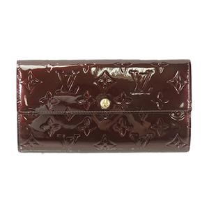 Auth Louis Vuitton Long wallet Vernis Portefeiulle Sarah M91521 Rouge Fauviste