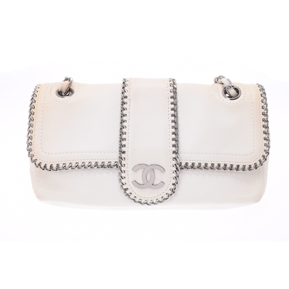 Chanel Chain Leather Shoulder Bag White