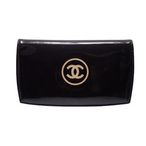 シャネル(Chanel) Cosmetic long wallet  エナメルレザー 財布 ブラック