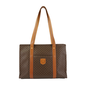 Auth Celine Tote Bag Macadam Brown Gold