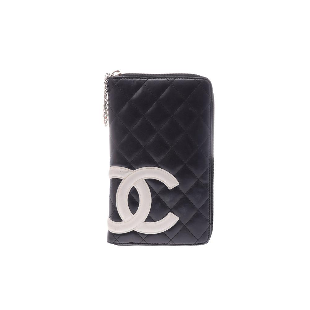 シャネル(Chanel) カンボン  ラムスキン 財布 ブラック,ホワイト