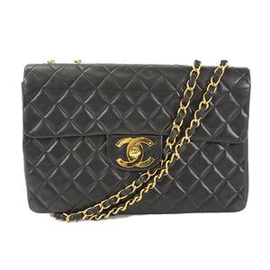Auth Chanel Matelasse Big Matelasse Chain Shoulder bag W Chain Lambskin Black