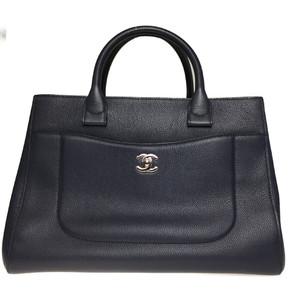 Auth Chanel A69931 Large Shopping Executive Tote Handbag,Shoulder Bag Navy