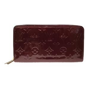 Auth Louis Vuitton Monogram Vernis M91536 Zippy Wallet Long Wallet (bi-fold) Rouge Fauviste