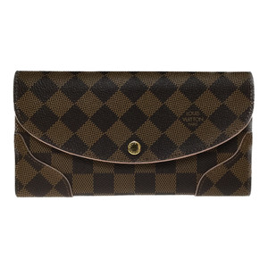Auth Louis Vuitton N61227 Porto Feuille Caisa Damier Canvas Long Wallet (bi-fold) Rose Ballerine