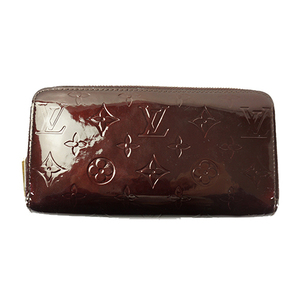 Auth Louis Vuitton Long Wallet (bi-fold) Monogram Vernis Zippy Wallet M91536 Rouge Fauviste