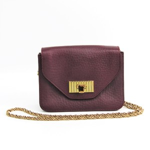 Chloé Sally 3S0984 Women's Leather Shoulder Bag Bordeaux