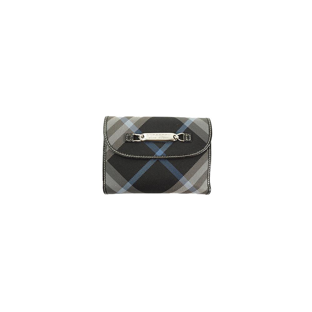 Auth Burberry Blue Label Wallet Black Silver