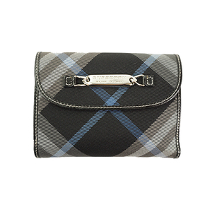 Auth Burberry Blue Label Wallet Black Silver