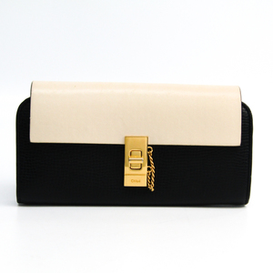 Chloé Drew 3P0780 Women's Leather Long Wallet (bi-fold) Black,Ivory