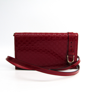 Gucci MicroGuccissima 354086 Nice Wallet Bag Women's Patent Leather Chain/Shoulder Wallet Red