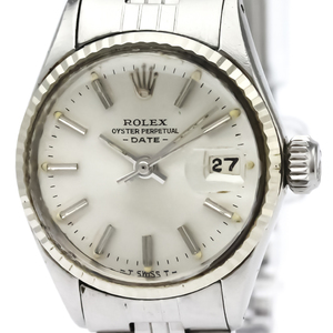 ROLEX Oyster Perpetual Date 6517 White Gold Steel Ladies Watch