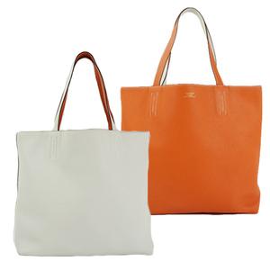 Auth Hermes Double Sens 36 Tote Bag □R Orange White