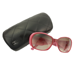 Auth Chanel Sunglass Camellia Pink,Red