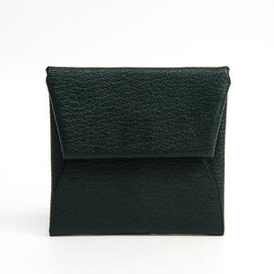 Hermes Bastia Unisex  Chevre Myzore Leather Coin Purse/coin Case Dark Green