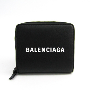Balenciaga 490618 Unisex Leather Wallet (bi-fold) Black