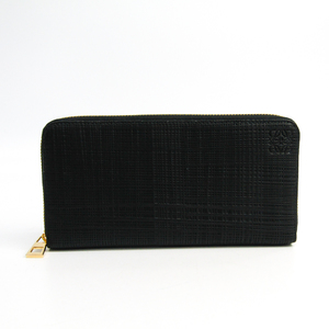 Loewe Linen ZIP AROUND WALLET Women's  Embossed Calf Leather Long Wallet (bi-fold) Black