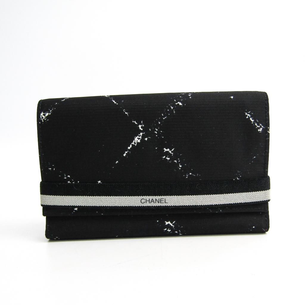 e21302c61090 Chanel Travel Line Women S Nylon Wallet Tri Fold Black White