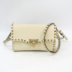 Valentino Rock Studs Women's Leather Shoulder Bag Off-white