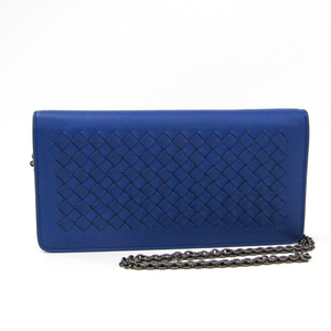 Bottega Veneta Intrecciato 445153 Women's Leather Chain/Shoulder Wallet Blue
