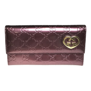 cb1b05ffe62 Auth Gucci 251861 GG Lovely line Long Wallet (bi-fold) Patent leather