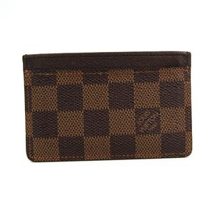 Louis Vuitton Damier Damier Canvas Card Case Ebene Simple Card Case N61722