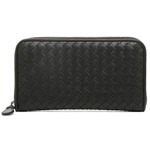 Bottega Veneta Intrecciato Nappa Zip Around Wallet Unisex Intrecciato,Leather Wallet Black