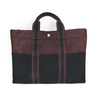 Hermes Fourre Tout MM Unisex Cotton Canvas Tote Bag Bordeaux,Black