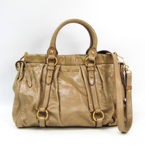 Miu Miu RT0383 Women's Leather Handbag Beige