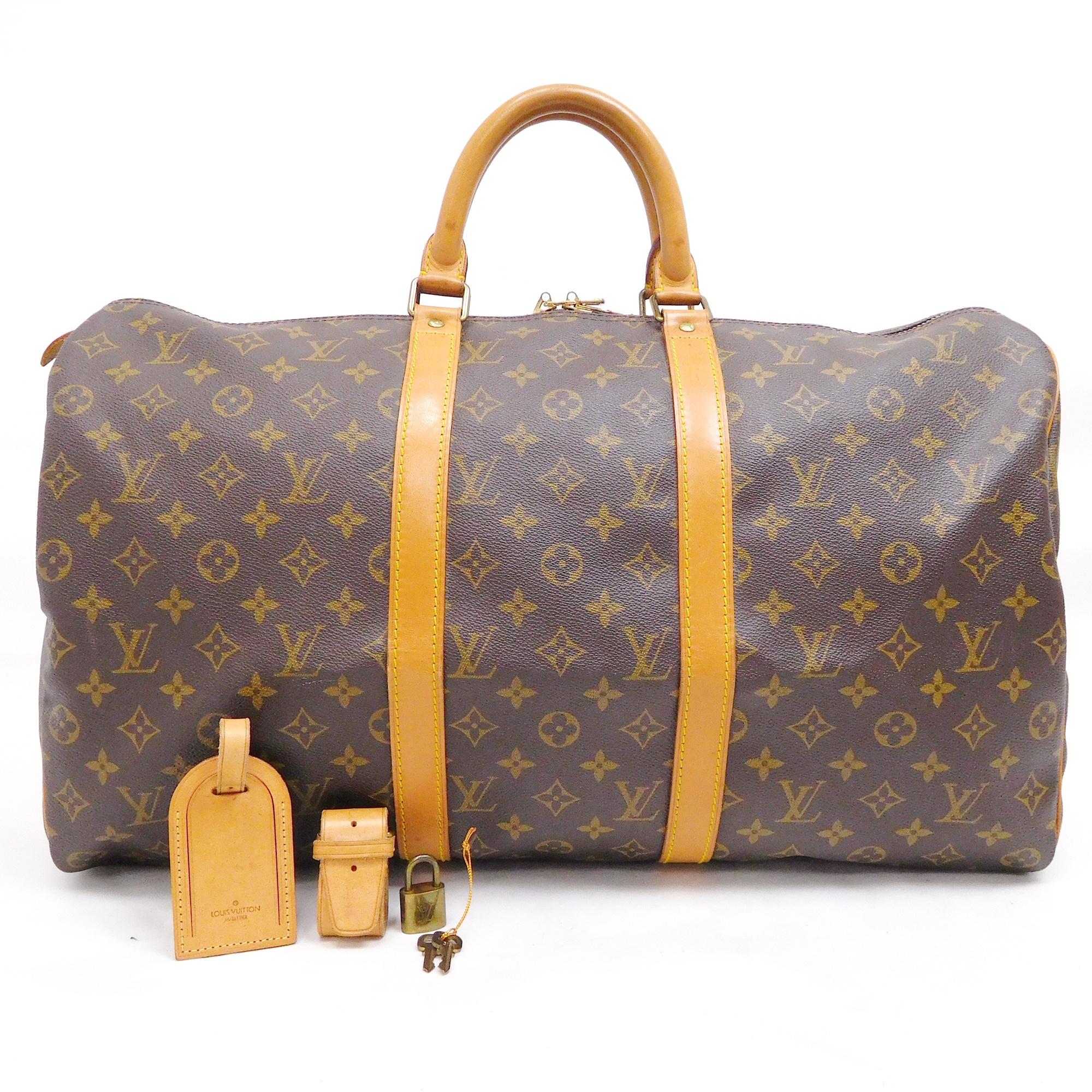 dd2f9d90dcab Auth Louis Vuitton Monogram Keepall 50 M41426 Malletier Women s Boston Bag  Brown