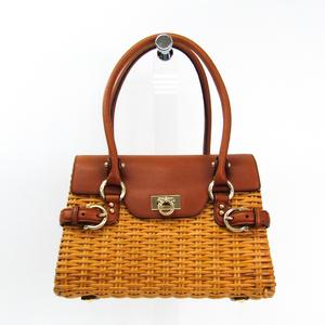 Salvatore Ferragamo Gancini 21 5398 Women's Rattan,Leather Handbag Brown