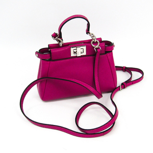 Fendi Peekaboo Micro Peekaboo 8M0355 Women's Leather Pochette,Shoulder Bag Pink