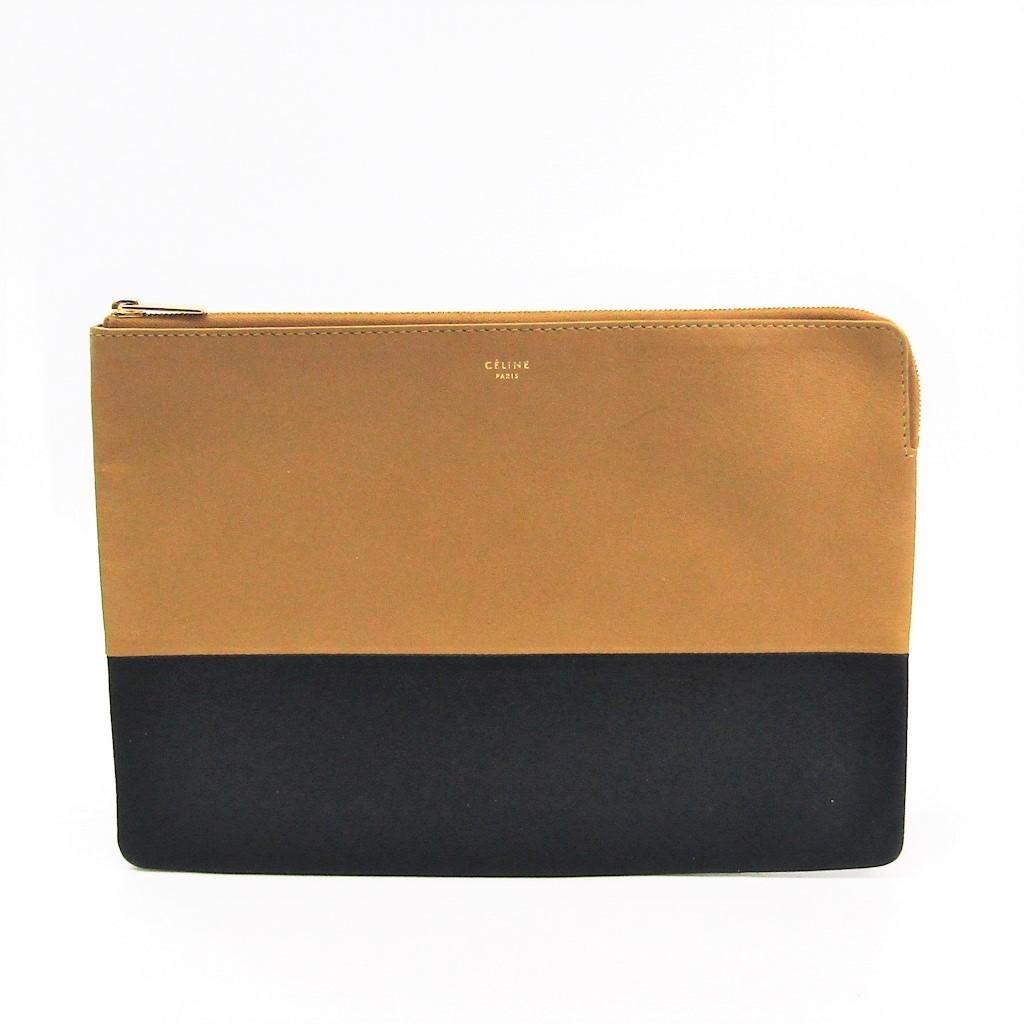 Celine 100093 Women s Leather Clutch Bag Beige 89fb34cc7215e